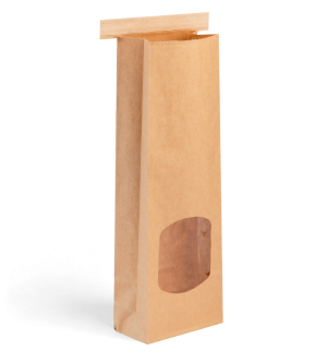 Kraft Retail Bags with Window and Tin-Tie