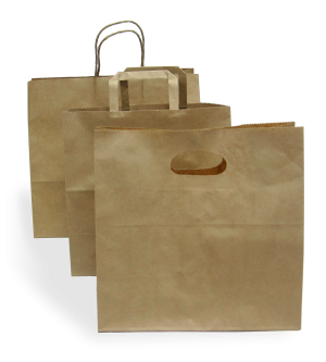 Kraft Paper Carry Bags with Handle - Wide Base