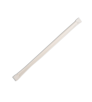 PAPER STRAWS REGULAR INDIVIDUALLY WRAPPED - WHITE