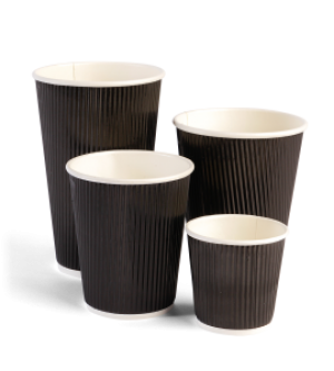Ripple Wrap Black Cups
