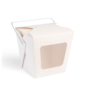 White Paper Noodle Box with Handle