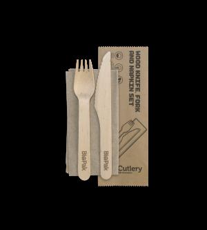 Cutlery Pack Wooden Knife, Fork & Napkin - BioPak