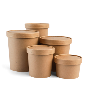 Heavy Duty Paper Containers & Lids Kraft