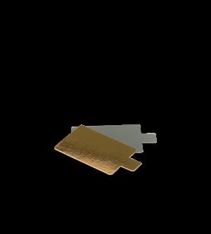 Cake Board Tab Rectangle Sml Gold/Sil 95 x 60mm