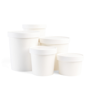 Heavy Duty White Paper Tubs with Lids
